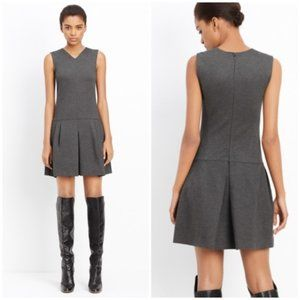 VINCE Drop Waist Pleat Ponte Dress Charcoal {EE14}